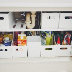 ニトリ購入品/ニトリ収納/洗面台下収納/収納/ニトリ 現在の洗面台下収納。ニトリのラックを使っ…