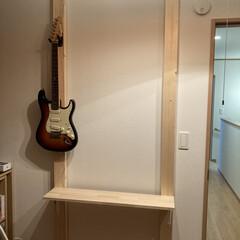 カウンターテーブル/ギター/100均DIY/DIY/男前/カフェ風/... 今回は自作でラブリコ風な物を作り、壁掛け…(3枚目)