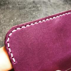 wallet/財布/革製品/革小物/パープル/紫/... #wallet #財布 #handmad…