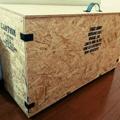 大型収納BOX/収納/DIY/ステンシル/OSB合板/コンテナ風/... 大きな物もたっぷり入る大型の収納BOXを…