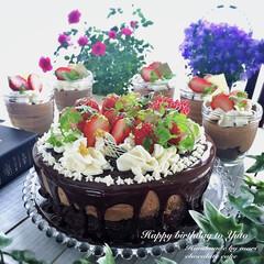チョコレート/チョコムース/誕生日/おうちカフェ/誕生日ケーキ/スイーツ 今年の次男の誕生日ケーキは 生チョコを挟…