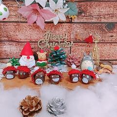 どんぐり帽子/クリスマス飾り/ハンドメイド/レンチン やっとクリスマス飾りをしてみました🎄🎅 …