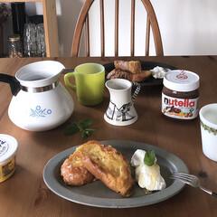 ファイヤーキング/おうちカフェ/おうちごはん/IKEA/北欧/北欧インテリア/... 水切りヨーグルトとフレンチトーストの ラ…