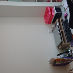 机/書斎/ダイソー/セリア/雑貨/DIY/... 我が家で唯一の自分スペースなデスクスペー…