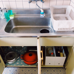 ポリプロピレンファイルボックス・スタンダードタイプ・ワイド・A4用ホワイトグレー 約幅15×奥行32×高さ24cm | 無印良品(その他オフィス収納)を使ったクチコミ「𖧷毎日の朝活𖧷  食器洗いをした後 ササ…」