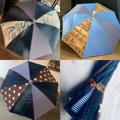 手作り/デニム/デニム日傘/日傘/デニムリメイク/ハンドメイド/... デニムリメイク日傘❤︎ 日傘の骨はユザワ…