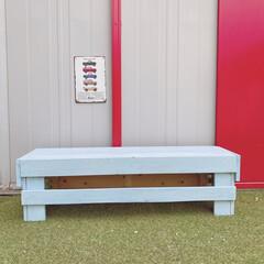 和信ペイント株式会社/アイスブルー/人工芝/お庭DIY/お庭/ベンチ/... エクステリアカラーで手作りベンチを塗装し…