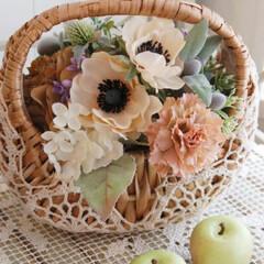 造花/造花アレンジ/インテリアフラワー/フラワー/花 造花アネモネのかごアレンジ♪