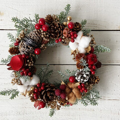 クリスマスリース手作り/クリスマスリース/クリスマス/100均/ダイソー/セリア/... 100均、ダイソーやセリアの材料でクリス…