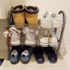 収納生活/スニーカー/リミとも部/棚/廊下/玄関/... 我が家のシューズボックスは小さくて、しか…