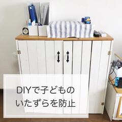 生活の知恵/収納/インテリア/DVD収納/DVDコレクター/こだわりの並べ方/... DIYで付けた扉で子どものいたずらを防止…