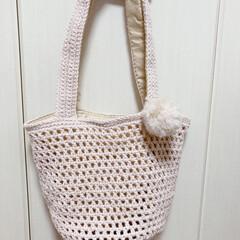編み物バック/ポンポン/編み物/ハンドメイド