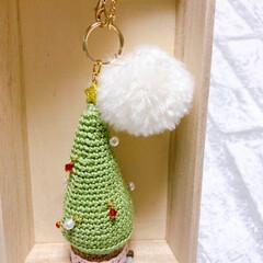 編み物/レース糸/チャーム/ポンポン/クリスマスチャーム/クリスマス
