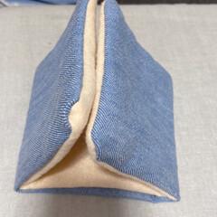デニム生地とフェルト/寒くなってきたので/三角テント作りました/珍しく嫌がらない/気に入ってくれたかな/文鳥/...