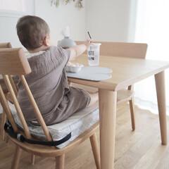 お子様用 お食事クッション BIG ダマスク 座布団 高さ 調節 キッズチェア ベビーチェア 子供 椅子 | プッパプーポ(ベビーラック、チェア)を使ったクチコミ「息子とのおうち時間⚘ にいちゃんがいない…」(1枚目)