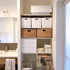 シンプルな暮らし/収納/ニトリ/ラク家事/脱衣所収納/脱衣所収納問題/... 楽に収納、でも見た目は美しく。 シンプル…