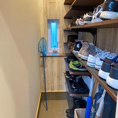 靴収納/一畳シュークロ/間取り/シューズクローク/シューズクローゼット/玄関/... わが家の一畳程の広さしかないシューズクロ…