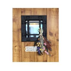 スワッグ/窓/ドライフラワー/玄関/ハンドメイド/DIY/... 玄関の小窓 雑貨屋さんで買った フェイク…