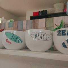 セリア/耐水耐熱シール 無地のマグカップに、セリアの耐水耐熱シー…