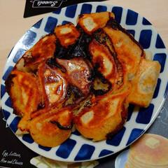 おかず/おうちご飯/餃子の皮/手作り餃子/餃子 今夜のおかずは皮から作った餃子です。 レ…