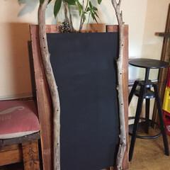 チョークボード/流木/黒板 拾って来た流木と廃材でchalkboar…