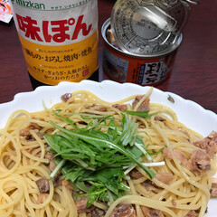 簡単パスタ/節約/フード サバ缶、水菜、混ぜ混ぜ ポン酢をかけてい…