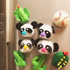 ハンドメイド/マグネット/かわいい/手縫い/フェルト 我が家の4兄弟!それぞれの雰囲気でパンダ…