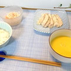 波佐見焼 白山陶器 重ね縞 反角中皿 取皿 正角皿 ケーキ皿 パン皿 和食器   白山陶器(皿)を使ったクチコミ「昨日の晩ごはん。 鶏胸肉のソテー・ツナと…」(1枚目)