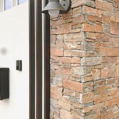 マイホーム計画/木目調ポスト/木目調/門柱デザイン/門柱/天然石貼り/... 弊社デザイン施工例  自然な色合いでまと…(3枚目)