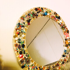 チェコビーズ/手作り/ビーズ/鏡/ミラー/リメイク 鏡のリメイク Salut!で買った鏡に余…