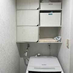 洗面所 洗濯機の上にカラーボックスを2つ買ってタ…(1枚目)