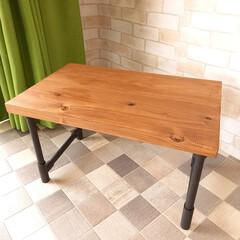 DIY/簡単DIY/アイアンペイント/インダストリアル/ローテーブル/ハンドメイド/... 一人用のローテーブルをDIYしました。天…(1枚目)