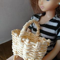 カゴバッグ 娘の人形用に作りました🐤