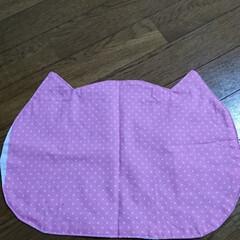 ハンドメイド 🍙ランチマット(リバーシブル)猫の形…(5枚目)