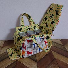 手づくり/ミシン/ソーイング/お酒/ビール/猫アレルギー/... 6本パックが入る保冷バッグ作りました。 …(2枚目)