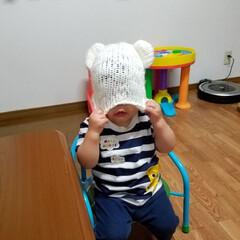 娘とおそろい/くま耳/被りすぎ/ニット帽/息子/おもしろ ちょっと被りすぎる息子です。 目隠し編集…