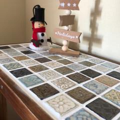 diy girl/BOWCS tile market/タイル/サイドテーブル サイドテーブルを作りました タイルはワゴ…