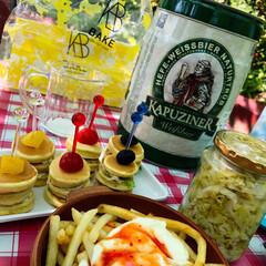 ポテト/サワークリーム/スイートチリ/ザワークラウト/ピクニック/ドイツビール/... ビールに合わせて、ドイツカラーピンチョス…