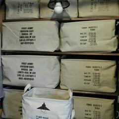 アーモボックスロゴ/コンテナロゴ/ステンシル/ディアウォール/雑貨/100均 ストレージバッグの反対側にコンテナロゴ、…