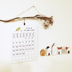 ドライフラワー/お家/カレンダー 自作/カレンダー/冬インテリア/DIY/... カレンダー自作しました❤️ ダイソーの英…