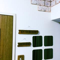 木製/トイレ/浴室・風呂/スイッチカバー/スイッチカバー diy/セリアリメイク/... トイレとバスルームのサインボードの上にも…