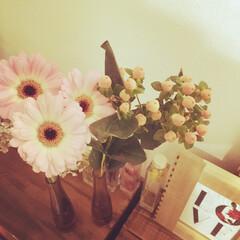 生花/IKEA フレーム/IKEA 花瓶/りんご箱 リメイク/りんご箱/淡いピンク/... 淡いピンクのガーベラにヒペリカム買って来…