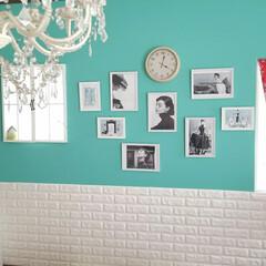 フレンチシックインテリア/フレンチ/パリのアパルトマン/ティファニーブルーインテリア/DIY リビングの壁大好きなティファニーブルーに…
