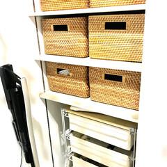 脱衣室/無印良品/収納 脱衣室の収納 上の棚は ラタンバスケット…