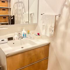 洗面台/脱衣室 脱衣室はオシャレ無し(笑) 家事動線を考…