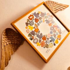 バーズワーズ/シルクスクリーン/リース柄/マンゴーウッドの天使はね/天使の羽付けて/可愛い過ぎ(笑)/... そのまま飾っても 可愛い♡ポスターに ひ…