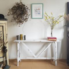 エイジング/コンソールテーブル/テーブル/ハンドメイド/家具/住まい/... コンソールテーブルが出来ました  花や雑…