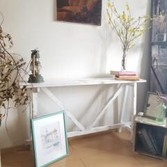 エイジング/コンソールテーブル/テーブル/ハンドメイド/家具/住まい/... コンソールテーブルが出来ました  花や雑…(3枚目)