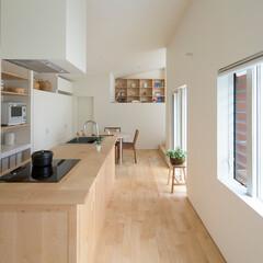 アイランドキッチン/キッチン/キッチン収納/パントリー/メープル/IH/... 2階にLDKがある住まい。2階の窓から緑…