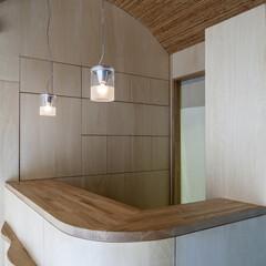 照明 LVLを使い、天井に曲面を作っています。